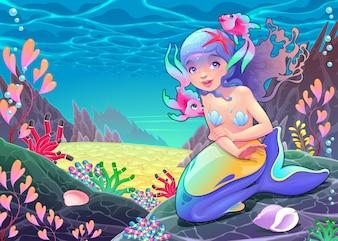 Grappige cartoon zeemeermin in het zeegezicht Vector illustratie
