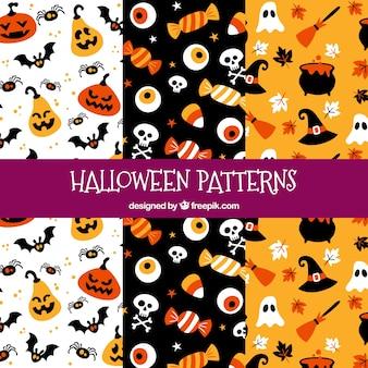 Grappige halloween patronen met elementen