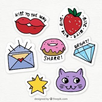 Grappige verscheidenheid aan handgetekende stickers