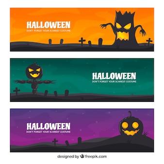 Griezelig pak plat Halloween-banners