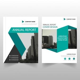 Groene abstracte abstracte jaarverslag dekking ontwerp van de brochure sjabloon
