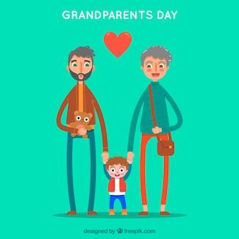 Groene achtergrond van grootouders met hun mooie kleinkind
