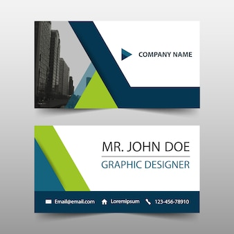 Groene driehoek corporate business card template