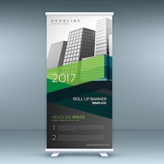Groene en zwarte business standee roll up banner template ontwerp