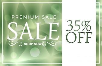 Groene premium verkoop banner of voucher design sjabloon met aanbieding details
