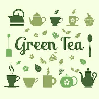 Groene thee illustratie van iconen