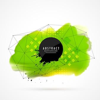 Groene waterverf grunge met draadframe mesh