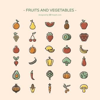 Groenten en fruit iconen