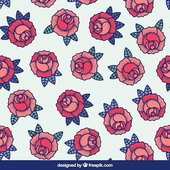Groot patroon van rozen