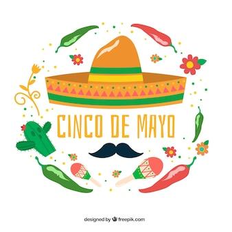 Grote achtergrond met decoratieve Mexicaanse elementen voor cinco de mayo
