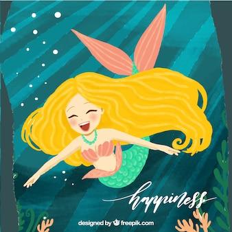 Grote achtergrond van lachende zeemeermin