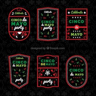 Grote cinco de mayo etiketten met rood frame