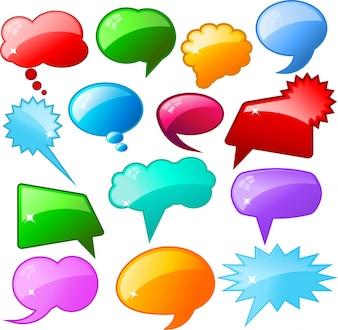 Grote collectie gekleurde glanzende spraakbellen