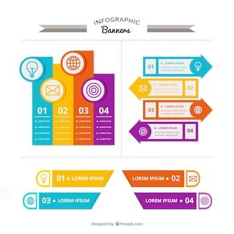 Grote pak van gekleurde infographic banners met verscheidenheid van ontwerpen