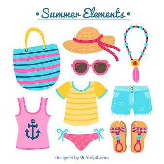 Grote set gekleurde accessoires voor de zomer
