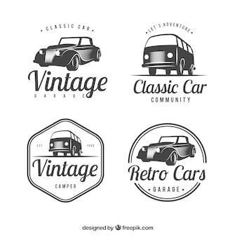 Grote set van logo's met klassieke auto's
