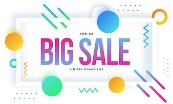 Grote verkoop banner ontwerp met abstracte elementen.