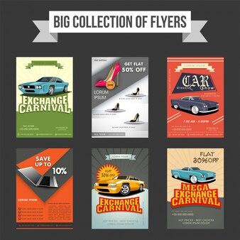 Grote verzameling van zes flyers, sjablonen of banners ontwerp