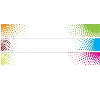 Halftone vector banner in diverse kleuren