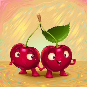 Hallo mijn naam is cherry Vector cartoon illustratie geschikt voor de keuken