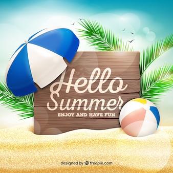 Hallo zomer achtergrond strand ontwerp