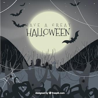 Halloween achtergrond met begraafplaats en volle maan