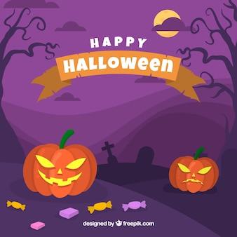 Halloween achtergrond met griezelige pompoenen
