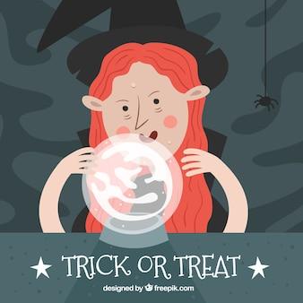 Halloween achtergrond met spookachtige heks