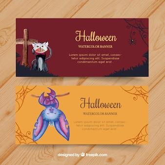 Halloween banners met schattige vleermuis en kat