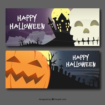 Halloween banners met schedel en pompoen