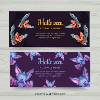 Halloween banners met waterverf vleermuizen