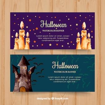 Halloween banners waterverf kaarsen en kasteel
