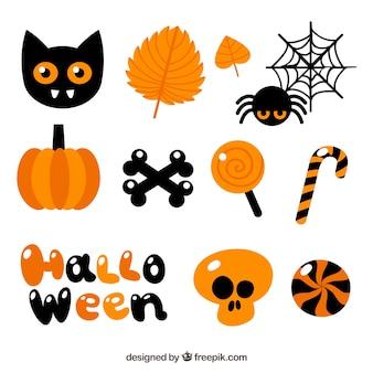 Halloween elementen met herfstkleuren