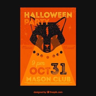 Halloween feest poster met wolf