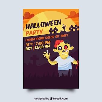 Halloween feest poster met zombie