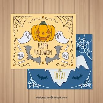 Halloween kaarten met handgetekende stijl