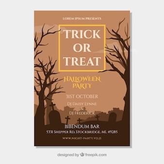 Halloween party flyer met griezelige begraafplaats