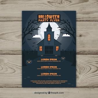 Halloween party flyer met spookhuis