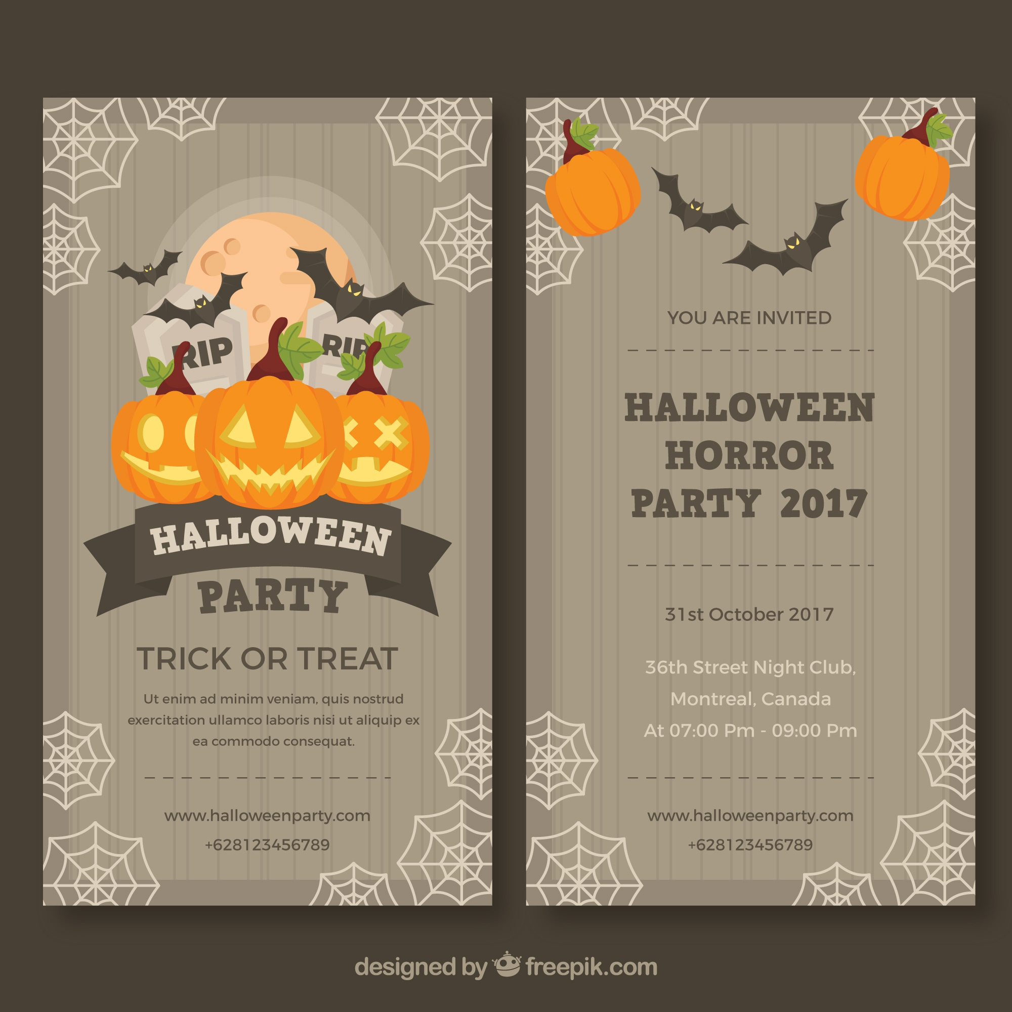 Halloween party flyer met vintage stijl