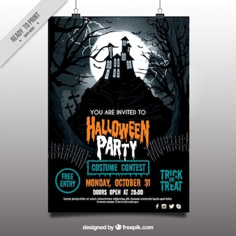 Halloween party poster met spookhuis