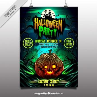 Halloween party poster van de pompoen