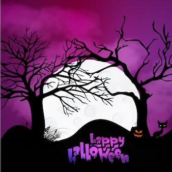 Halloween pompoenen en donker kasteel op blauwe Maan achtergrond, illustratie.
