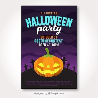 Halloween poster met pompoen in begraafplaats