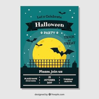 Halloween poster met vleermuizen in de nacht