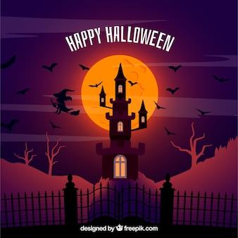 Halloween samenstelling met spookhuis