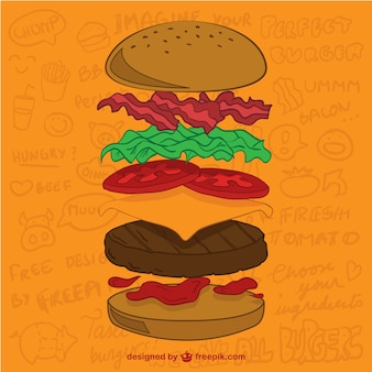 Hamburger ingrediënten vector