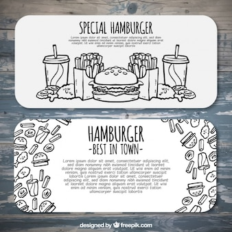 Hamburger menu banners met schetsen