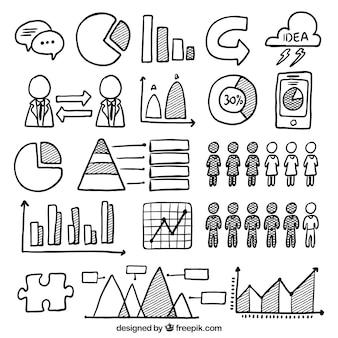 Hand-drawn aantal nuttige elementen voor infographics