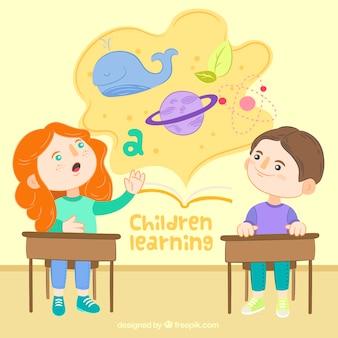 Hand-drawn achtergrond van creatieve studenten leren