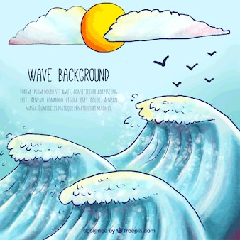 Hand-drawn achtergrond van de golven